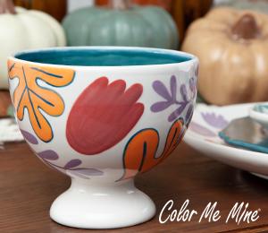 Colorado Springs Floral Pedestal Bowl